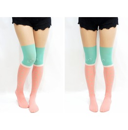 Pastel Block Cross Mock Thigh High Tights