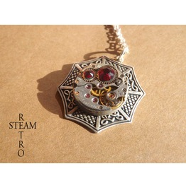 Swarovski Siam Celtic Steampunk Necklace Celtic Jewelry