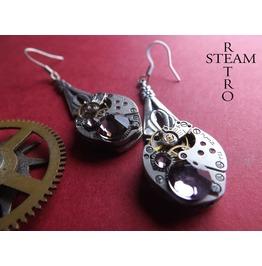 Silver Antique Rose Steampunk Earrings Steampunk