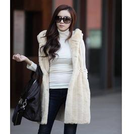 Sleeveless Faux Fur Long Hooded Coat