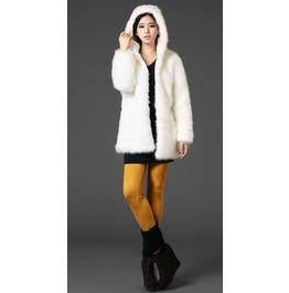 Elegant Faux Fur Long Hooded Coat