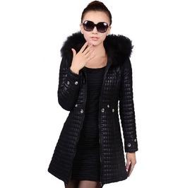Padded Pu Faux Fur Long Hooded Coat