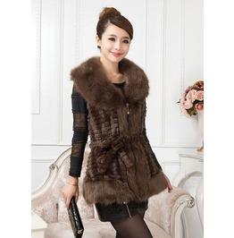 Sleeveless Faux Fur Long Coat