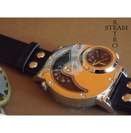 Russian Military Dual Time Quartz Steampunk Watch