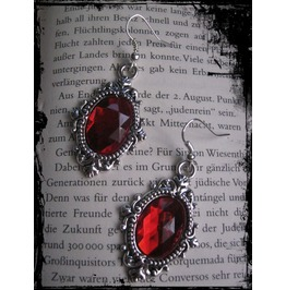 Earrings, Red. Faceted Stones