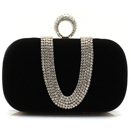 Crystal Studded Black Evening Handbag