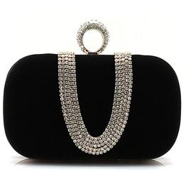 Crystal Studded Black Evening Handbag
