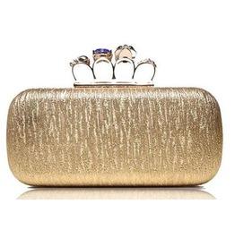 Faux Gem Skull Gold Mesh Evening Handbag