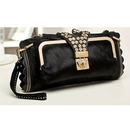 Retro Crystal Strap Long Shape Evening Handbag