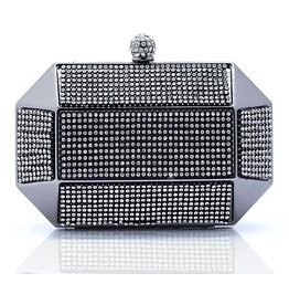Octagonal Shape Crystal Studded Evening Handbag