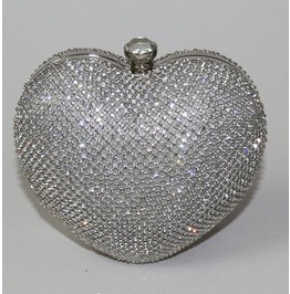 Heart Shape Crystal Studded Evening Handbag