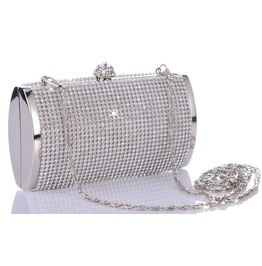 Silvery Crystal Studded Evening Handbag