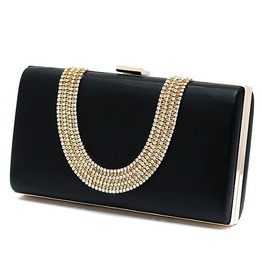 One Sided Crystal Studded Long Evening Handbag