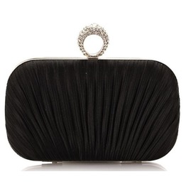 Pleated Satin Crystal Ring Evening Handbag