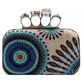 Faux Gem Skull Peacock Color Evening Handbag