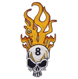 Black Death 8 Ball Skull Rider Iron Patch Badge