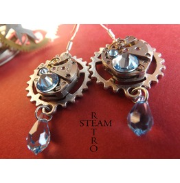 Vintage Watch Movement Aquamarine Swarovski Steampunk Earrings Steampunk Jewelery