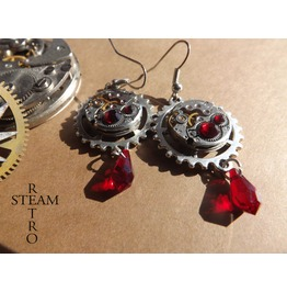 Vintage Watch Movement Blood Red Swarovski Steampunk Earrings Steampunk Jewelery