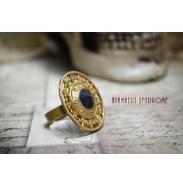 "Gothic Golden Adjustable Antiqued Ring ""Persephone"""