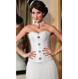Metal Clasp Closure Side Straps White Corset