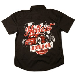 Retro Hotrod Hellcat Rat Rod Motor Oil 100% Pure Evil Work Shirt Men