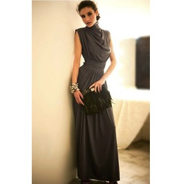 Sleeveless Pleated Waist Green Maxi Dress
