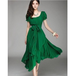 Deep Neck Line Flair Emerald Green Long Dress