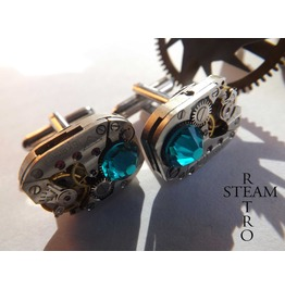 Mens Steampunk Steampunk Swarovski Blue Zircon Cufflinks Vintage Watch Movements. Vintage Upcycled Mens Cuff Links