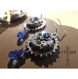 Vintage Watch Movement Blue Saphire Swarovski Steampunk Earrings Steampunk Jewelery