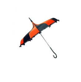H Ilary's Vanity Black & Red Striped Umbrella W/ Laces And Bows