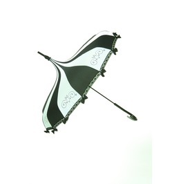 Hilary's Vanity Black & White Umbrella With Lace And Bows