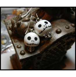 Jack Skellington Nightmare Christmas Ceramic Earrings Crystals