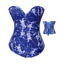 Sexy Strapless Blue White Print Bustier Corset