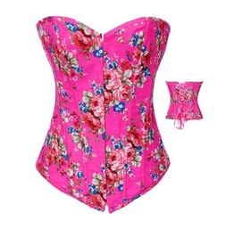 Sexy Strapless Pink Floral Print Bustier Corset