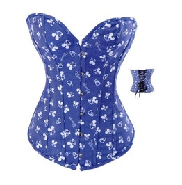 Sexy Strapless Blue Cartoon Print Bustier Corset