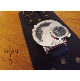 Dual Time Gothic Steampunk Watch Silver & Handmade Black Leather Strap Steampunk Watches Steamretro