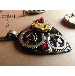 Gothic Black Clockheart Steampunk Siam Necklace Steampunk Heart Gothic Heart Steampunk Jewelry Steamretro