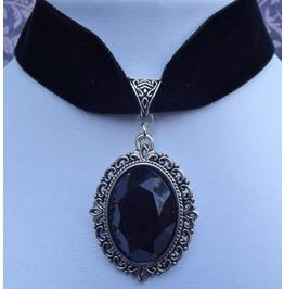Gothic Victorian Steampunk Black Velvet Jewel Choker