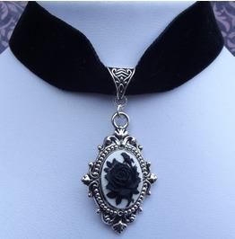 Gothic Victorian Steampunk Black Velvet Black Rose Cameo Choker