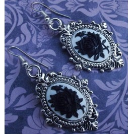 Gothic Victorian Steampunk Black Rose Cameo Drop Filigree Earrings