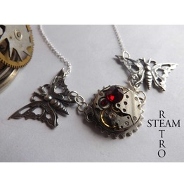 Steampunk Butterfly Necklace Womens Jewelry Clockwork Butterfly Steampunk Siam Necklace Steampunk Jewellery Steamretro
