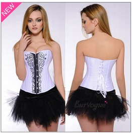 Sexy Strapless Front Fasterner Paisley Bustier Corset
