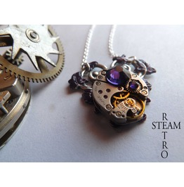 Purple Heart Steampunk Necklace Steampunk Jewelry Heart Necklace Steampunk Jewellery Steamretro