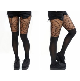 Gothic Spider Web Thigh High Tights