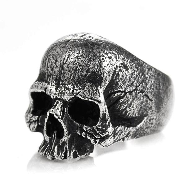 Skull Rings -  Sterling Steel & Rhinestones Rings at RebelsMarket