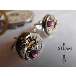 Steampunk Amethyst Cufflinks Steamretro Mens Jewelry Steamretro Cufflinks Steampunk Cufflinks Wedding Cufflinks