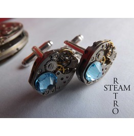 Mens Aquamarine Cufflinks Steampunk Cufflinks Steampunk Accessories Wedding Cufflinks Cufflinks Best Man Gifts