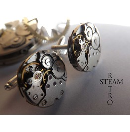 Mens 22mm Steampunk Cufflinks Cufflinks Steampunk Watch Movements Steampunk Jewelry Steamretro
