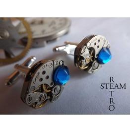 Mens Capri Blue Cufflinks Steampunk Cufflinks Best Man Gifts Steampunk Accessories Wedding Cufflinks Cufflinks