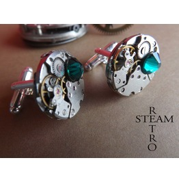 Mens Emerald Steampunk Cufflinks Cuff Links Steampunk Watch Movement Cufflinks Steampunk Jewelry Steamretro